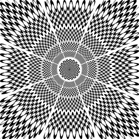 hypnotic: Abstract flower black and white hypnotic vector background