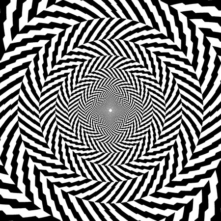 Vector illustration of optical illusion black and white hypnotic background