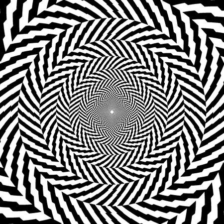 Vektor-Illustration der optischen Täuschung Schwarz-Weiß-hypnotischen Hintergrund