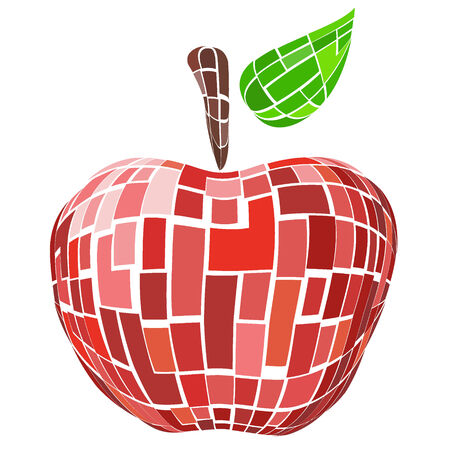 Abstract geometric red vector apple Illustration