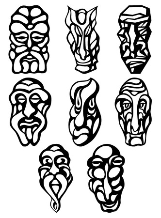 tatto: Silhouette tatto monster wooden mask. Vector set
