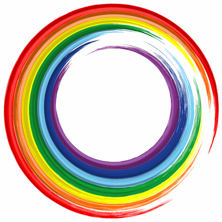 Art rainbow color circle frame abstract splash paint background