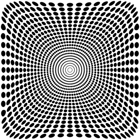 Vector optical illusion zoom black and white background 2