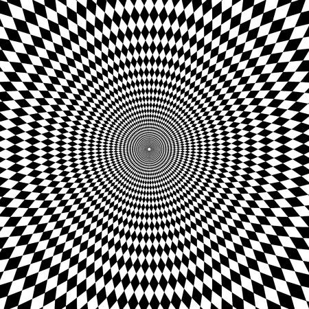 Vector optische illusie zoom zwarte en witte achtergrond