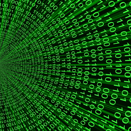 Abstract green binary code 3D vector line background of information technologies Vector