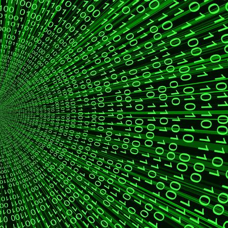 Abstract groene binaire code 3D vector lijn achtergrond van de informatietechnologie Stock Illustratie