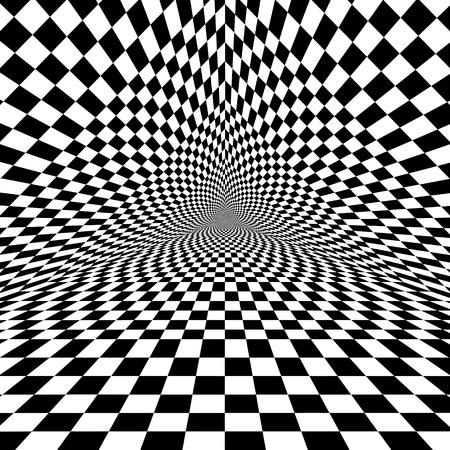 Zwarte en witte optische illusie driehoek vector patroon