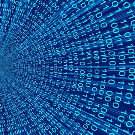 codigo binario: Azul código binario figura línea 3D Fondo abstracto de las tecnologías de la información