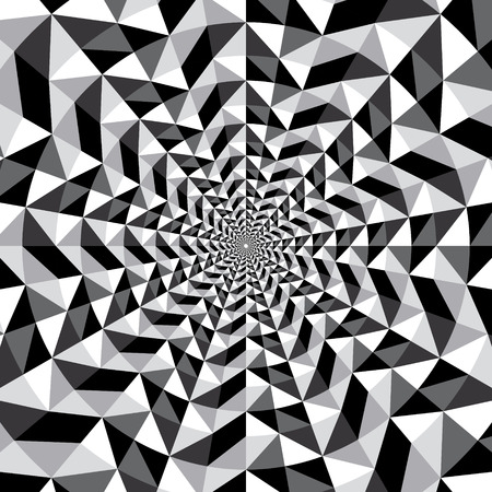 optical: Black and white optical illusion triangle vector background, texture