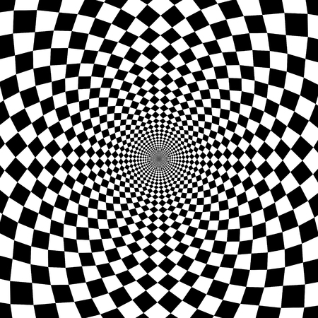 Vector optical illusion zoom black and white background Çizim