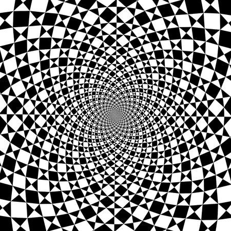 cognition: optical illusion zoom black and white background Illustration
