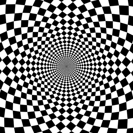 optical: Vector optical illusion zoom black and white background Illustration