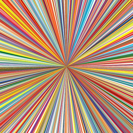湾曲した抽象的なレインボー ライン色放射状の太陽光線ストライプの背景