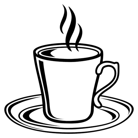 black coffee: Black and white coffee tea cup icon