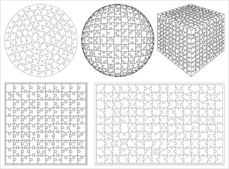 peculiar: Blank transparent unique 3d isometric shape background puzzle set vector