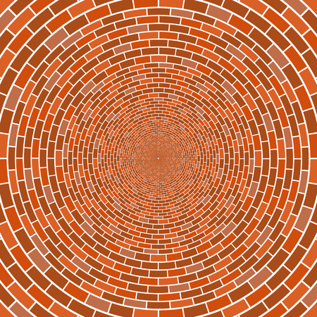 Abstract architectural brick wall circle optical illusion vector mosaic background