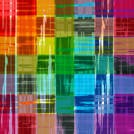Abstract rainbow color paint grunge plaid art pattern background