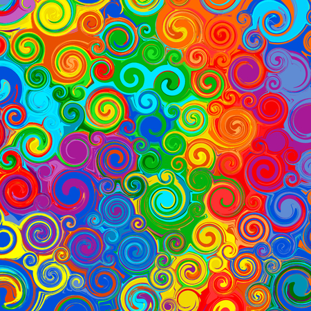 red color: Abstract rainbow curved stripes color line art swirl pattern vector background