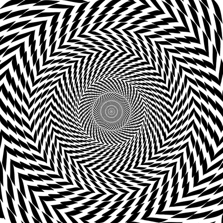 illusions: Vector optical illusion zoom black and white hypnotic background