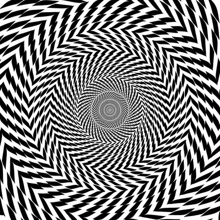 Vector optische Täuschung zoom Schwarz-Weiß-hypnotischen Hintergrund Illustration