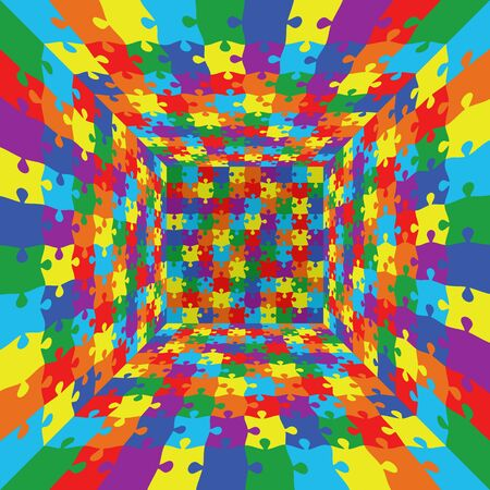 3d abstract vector rainbow color puzzle jigsaw room background