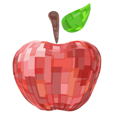 Abstract geometric red isolated vector fruit apple Illustration
