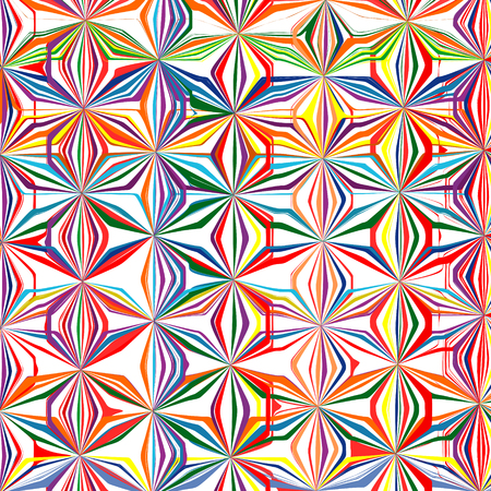 Abstract rainbow curved stripes color line art vector pattern