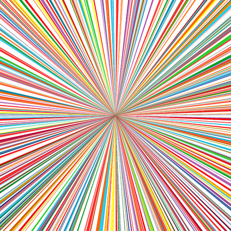 Abstract rainbow color stripes line art vector sun rays burst background