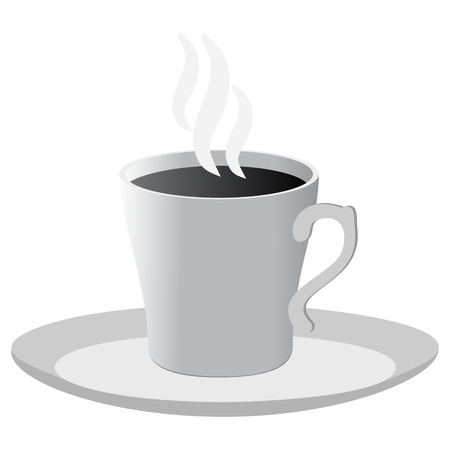 Black and white cup of coffee isolated icon