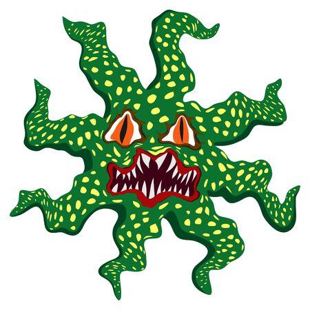 animated alien: Scary evil cartoon halloween monster Illustration