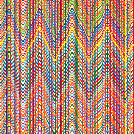 cotton fabric: Vector rainbow color stripes pattern with zigzag lines background Illustration
