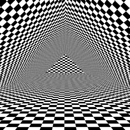Black and white optical illusion triangle vector background