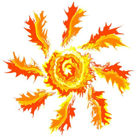 Art brash stroke splash paint isolated vector sun abstract background Illustration