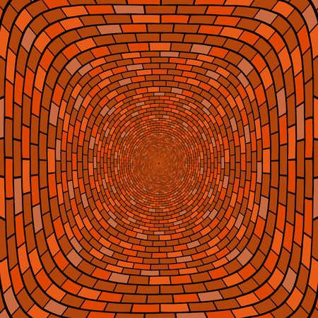 Abstract brick wall round shape well Vector background. Illustration