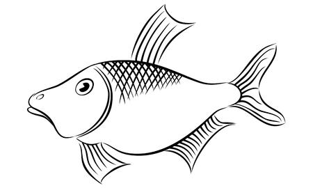 Vektor Fisch Symbol Symbol isoliert.