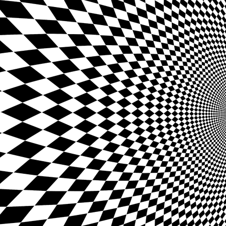 Vector optical illusion black and white background.
