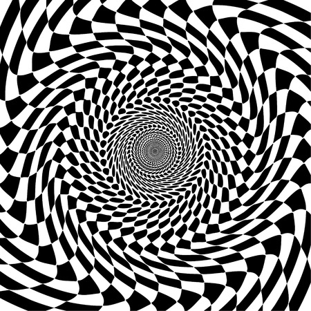 Abstract black and white optical illusion Geometric vector background Psychedelic hypnosis illustration. Illustration