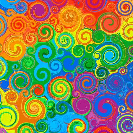 Abstract swirl curved stripes. Line art. Rainbow color vector 2 Illustration