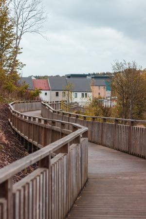 Boardwalk in an Aberdeen park, Scotland