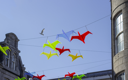 Colourful plastic birds against the blue sky, Aberdeen, Scotland