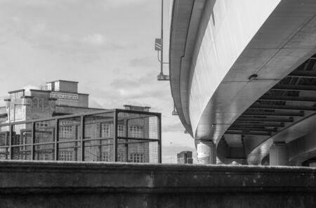 Low angle modern concrete road bridge in Glasgow, Scotland Stock Photo