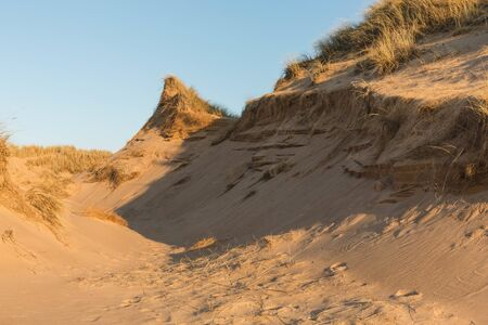 Beautiful dunes at sunset on Balmedie beach, Aberdeenshire, Scotland Stock Photo