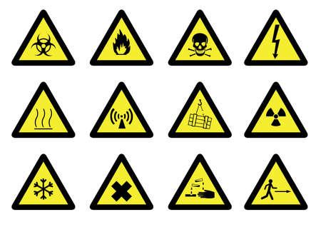nuclear bomb: Conjunto de signos de peligro detallada. Vectores