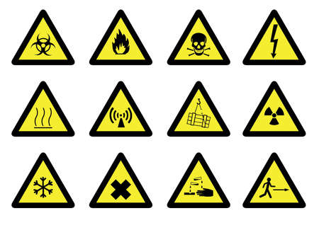 flammable materials: Set of detailed hazard signs.