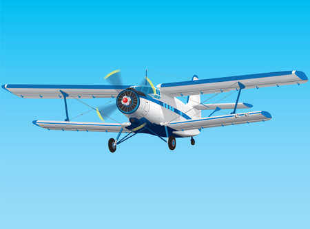 airplane landing: Highly detailed propeller biplane  Illustration
