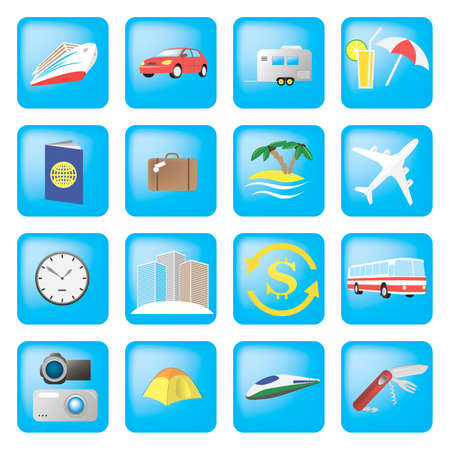 Set of detailed travel icons Stock Vector - 15914056