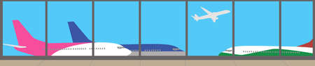 airport: View from the airport terminal - vector banner