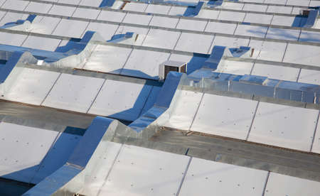 Metal roof of the modern commercial building Stock Photo