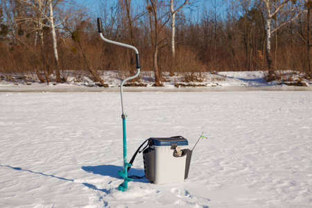 Fishing accessories for freshwater ice fishing photo