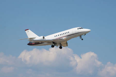 Small business jet takeoff Stock Photo